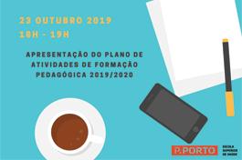 Apresentação do plano de atividades de formação pedagógica para 2019/2020